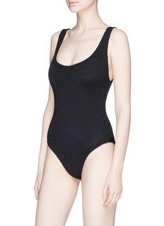 Hunza G 'Rita' bow strap back seersucker swimsuit