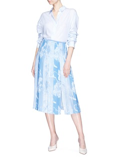 Victoria Beckham Abstract paint wash print box pleated midi skirt