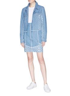 J Brand 'Cyra' polka dot panel cropped denim jacket