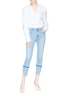 J Brand 'Ruby' raw split cuff cropped cigarette jeans