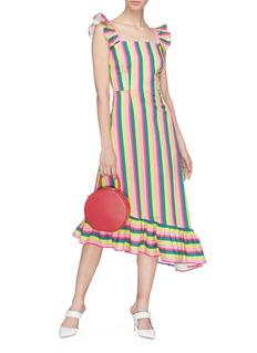 STAUD 'Valentina' asymmetric ruffle trim stripe dress