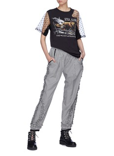 DRY CLEAN ONLY 'Alvar' sequin tulle panel graphic print T-shirt