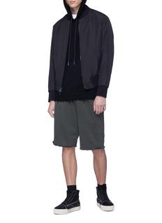 Helmut Lang Distressed wool knit hoodie