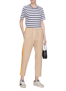 bassike Stripe outseam slim fit drawstring suiting pants