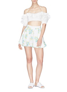 Zimmermann 'Melody' ruffle off-shoulder cropped top