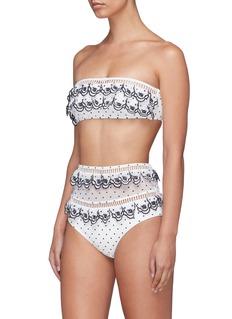 Zimmermann 'Tali' scalloped tiered polka dot bikini bottoms