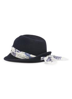 Maison Michel 'Virginie Up' bandana scarf rabbit furfelt trilby hat