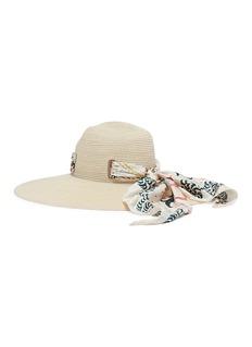 Maison Michel 'Virginia' bandana scarf hemp straw hat