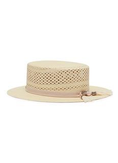 Maison Michel 'Kiki' brisa straw openwork canotier hat