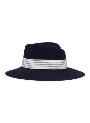 Maison Michel 'Virginie' stripe belt rabbit furfelt fedora hat ...