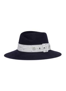 Maison Michel 'Virginie' stripe belt rabbit furfelt fedora hat