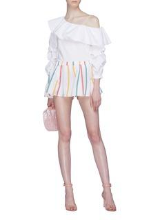Caroline Constas Stripe flared shorts