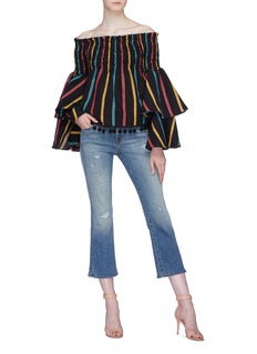 Caroline Constas 'Appolonia' pom pom stripe smocked off-shoulder top