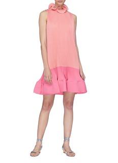Tibi Colourblock pleated peplum dress