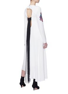 TIBI 佩斯利刺绣徽章流苏系带不对称真丝连衣裙