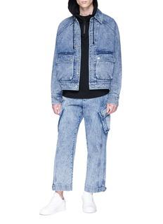 Feng Chen Wang Denim panel half zip hoodie