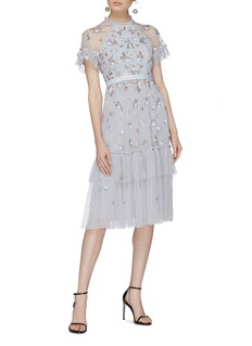 Needle & Thread 'Lustre' floral embellished tiered tulle dress