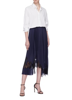 Helmut Lang Asymmetric lace panel pleated skirt