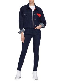 Current/Elliott 'The Ultra High Waist' contrast pocket skinny jeans