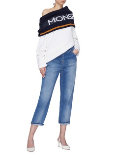 MONSE 品牌名称条纹搭叠露肩羊毛针织衫