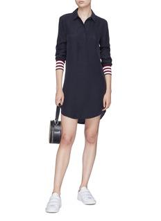 EQUIPMENT Felix拼色条纹袖口真丝衬衫裙