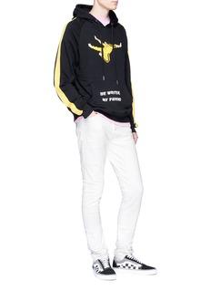 Mostly Heard Rarely Seen 'Bruce Lee' rubber appliqué stripe sleeve hoodie
