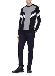 NEIL BARRETT 拼色条纹纯棉针织衫