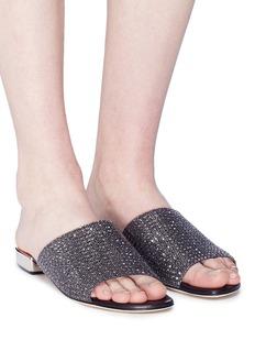 RODO Strass embellished suede slide sandals