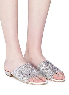 RODO Strass embellished leather slide sandals