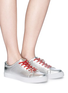 Pedder Red 'Jody' star pin metallic leather sneakers