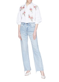 Topshop 'Love Me Grace' floral embroidered shirt