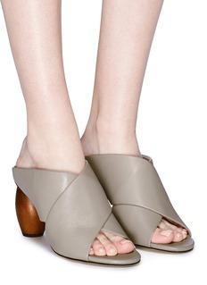 Pedder Red 'Adela' sculptural heel cross strap leather mule sandals