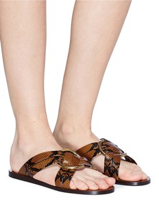 Chloé 'Rony' oversized ring cross strap snake embossed leather slide sandals