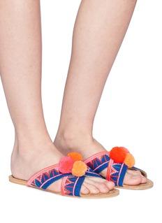 FIGUE SHOES 'Nilu' pompom embroidered cross strap slide sandals