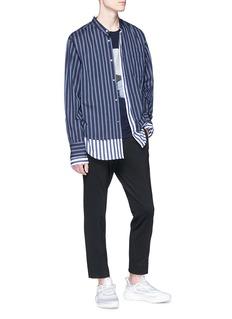Solid Homme 车缝线及几何图案纯棉T恤