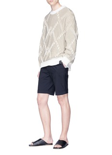 Solid Homme Interlocking diamond intarsia sweater