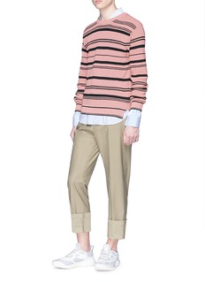 Solid Homme Roll cuff belted twill pants