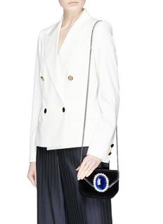 Stella McCartney 'Falabella' mini jewelled brooch velvet chain bag