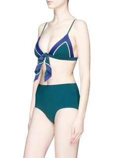 RYE  'Chi-Chi-Chi' knot front colourblock bikini top