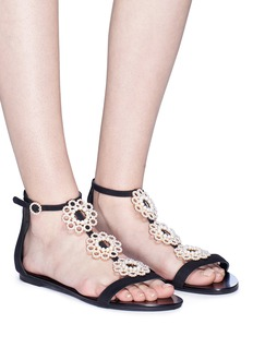 Stella Luna Faux pearl brooch T-bar sandals