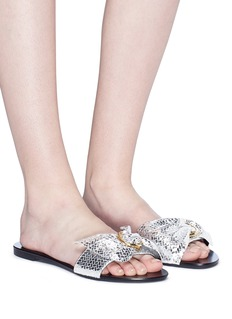 Stella Luna Metal ring ruched snake embossed leather slide sandals