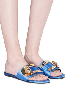 Stella Luna Turnlock buckle satin slide sandals