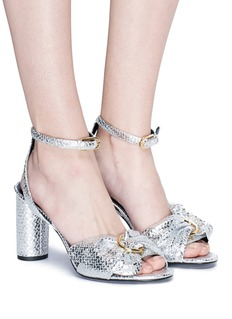 Stella Luna Metal ring ruched snake embossed leather sandals