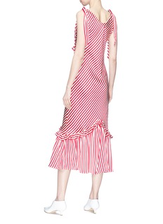 Maggie Marilyn Ruffle stripe silk satin midi dress