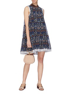 Chloé Stud collar blossom print tiered georgette dress