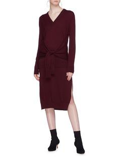 Chloé Sleeve tie split hem wool knit dress