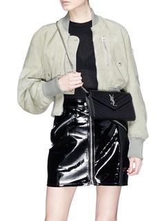 SAINT LAURENT 'Monogram' matelassé leather chain wallet