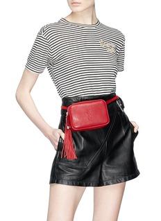 SAINT LAURENT 'Lou' logo debossed tassel leather belt bag