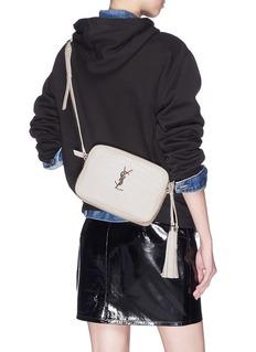 SAINT LAURENT Croc embossed leather shoulder bag