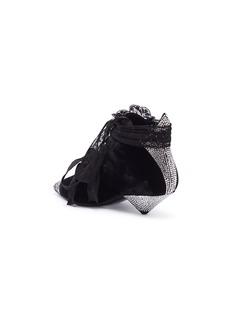 SAINT LAURENT 'Blaze' ribbon lace-up strass velvet booties